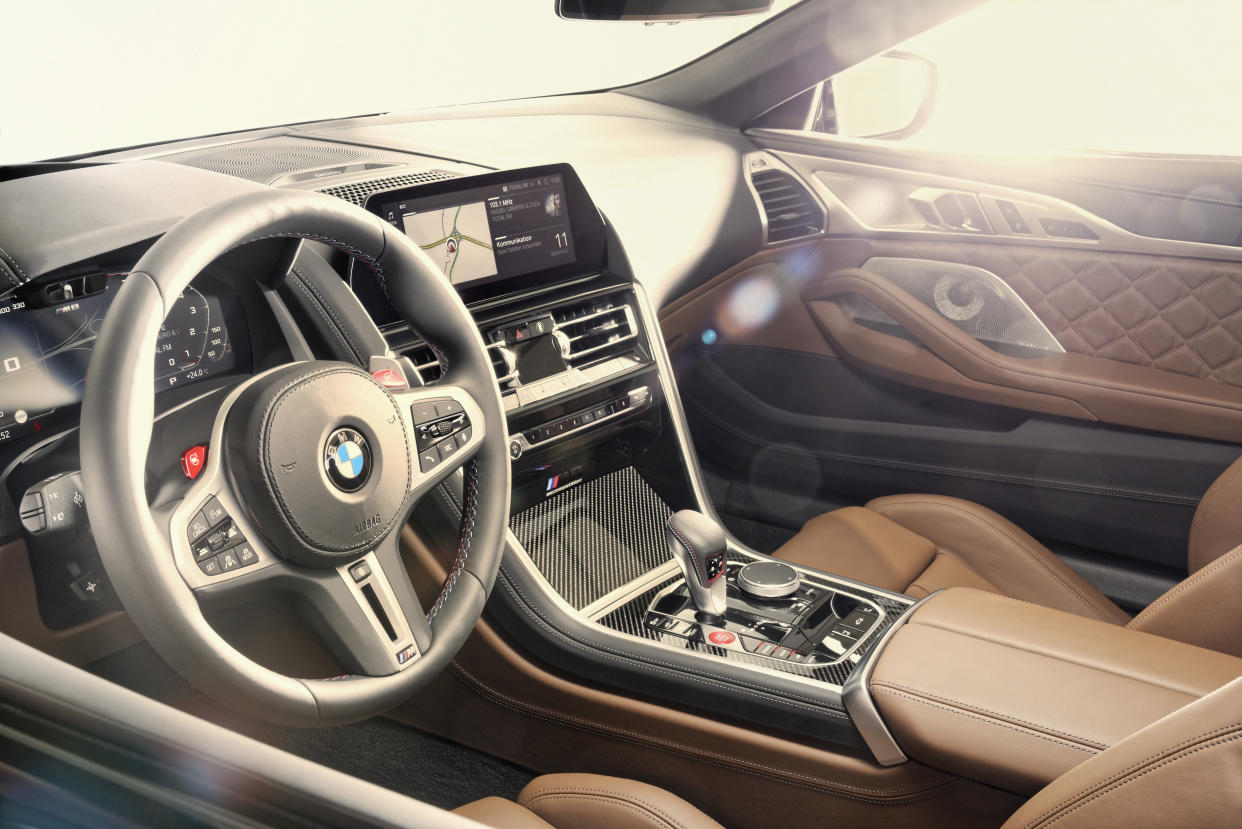 The interior gets various tweaks over the regular 8 Series cabin
