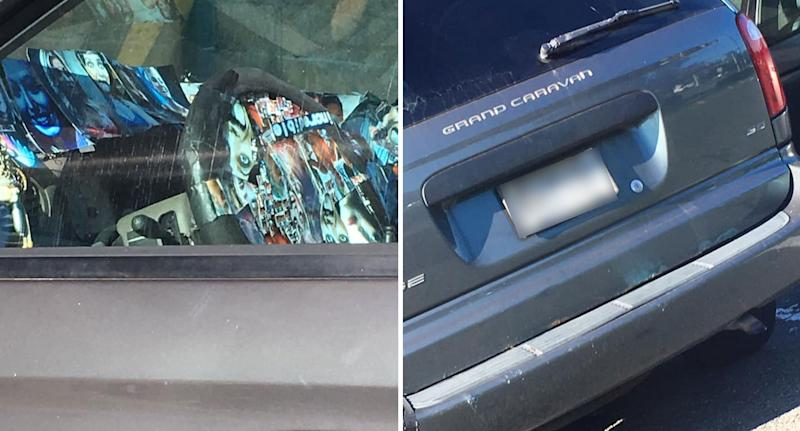 Interior of minivan in New Jersey with photos of dozens of girls stuck to the dashboard and steering wheel.