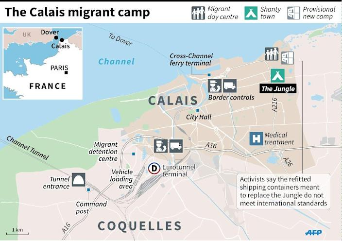 Map of Calais showing the migrant camps on the edge of the city and key locations, including the Channel Tunnel boarding point. (AFP Photo/Paul Defosseux, Laurence Saubadu)