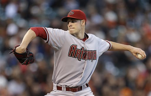 Arizona Diamondbacks' Patrick Corbin works against the San Francisco Giants in the first inning of a baseball game Tuesday, April 23, 2013, in San Francisco. (AP Photo/Ben Margot)