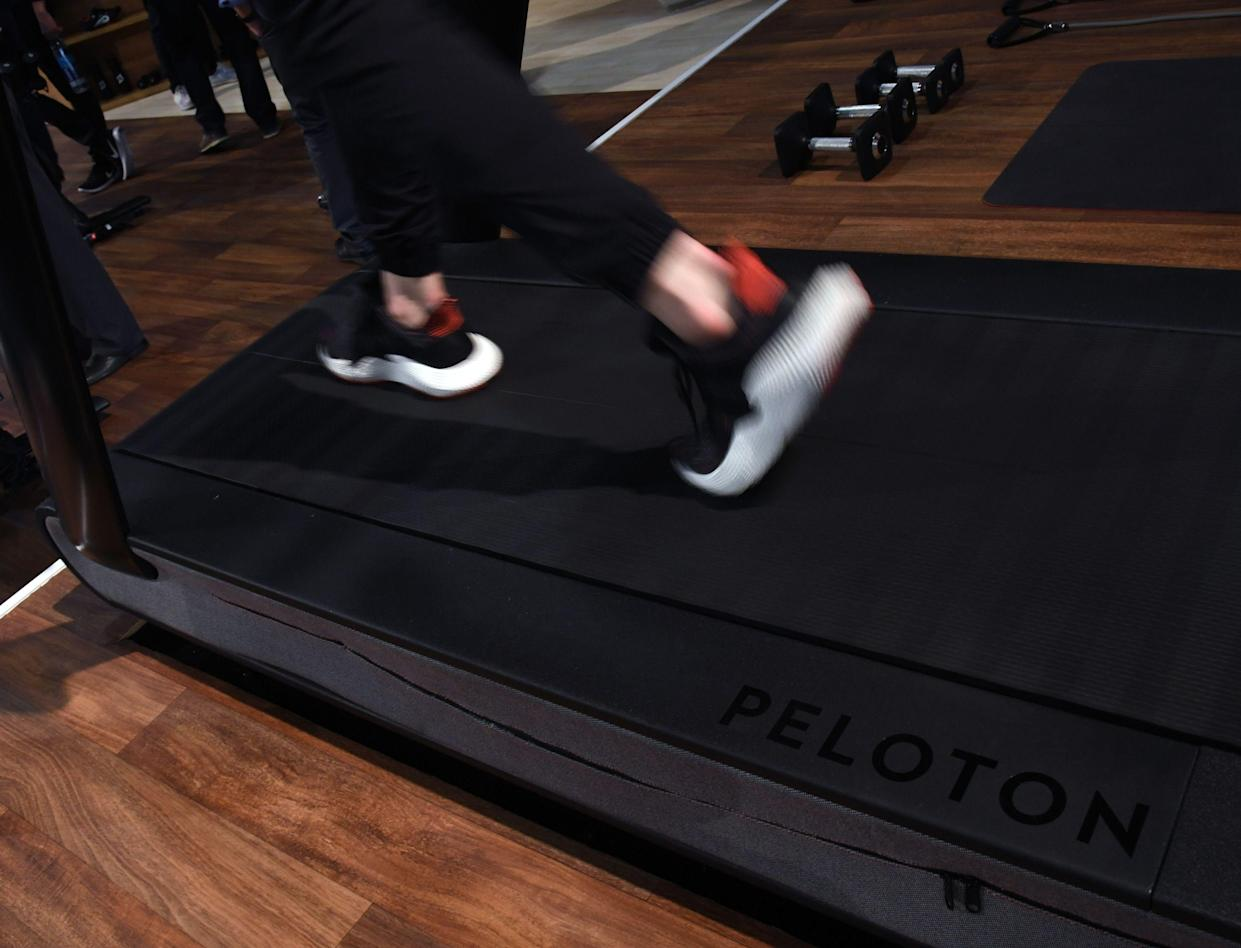 A detail shot shows the running deck of a Peloton Tread treadmill during CES 2018 at the Las Vegas Convention Center on January 11, 2018 in Las Vegas, Nevada.