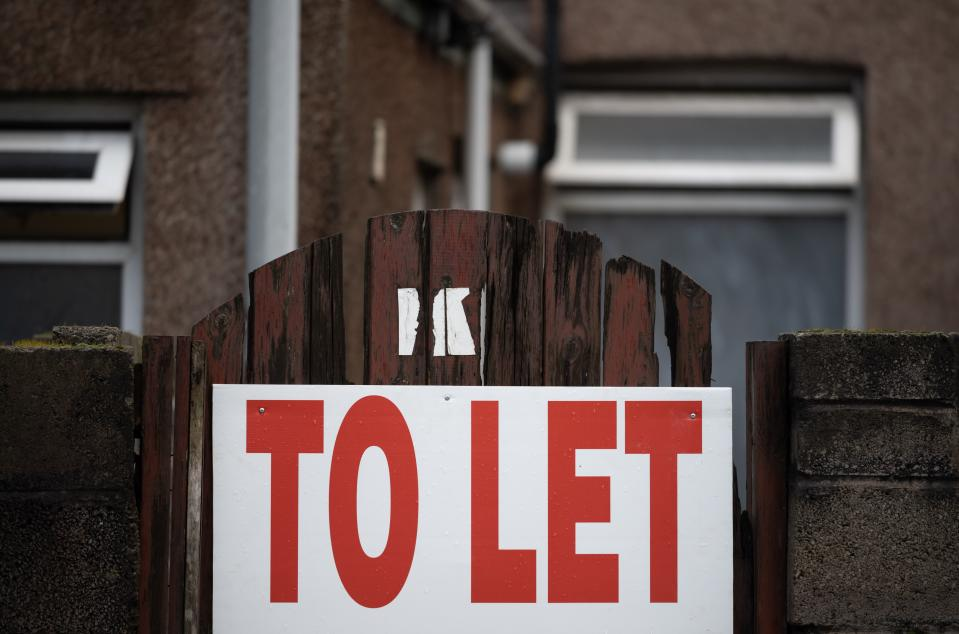 PORT TALBOT, UNITED KINGDOM - JANUARY 20: A to let sign outside a terraced property available to rent on January 20, 2019 in Port Talbot, United Kingdom. (Photo by Matthew Horwood/Getty Images)