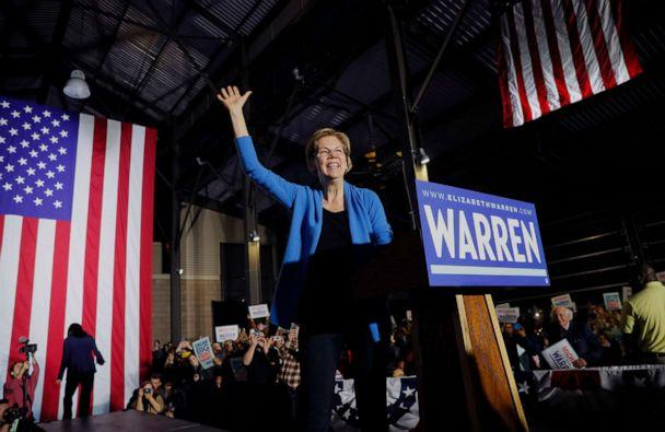 PHOTO: In this March 3, 2020, Senator Elizabeth Warren takes the stage before speaking at her Super Tuesday night rally in Detroit. (Brian Snyder/Reuters, FILE)