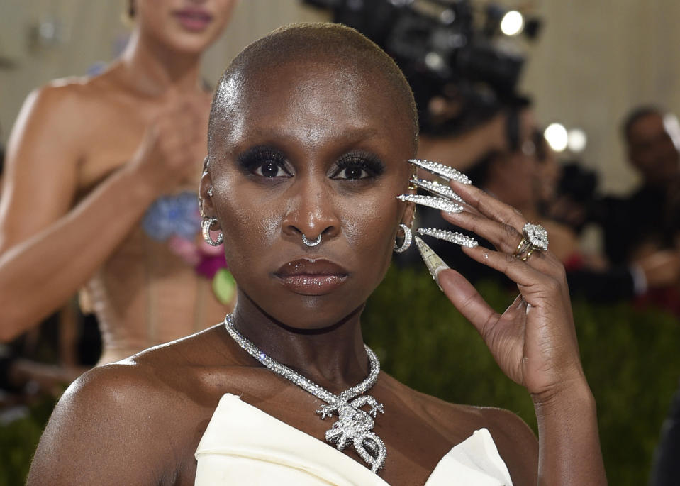 """Cynthia Erivo attends The Metropolitan Museum of Art's Costume Institute benefit gala celebrating the opening of the """"In America: A Lexicon of Fashion"""" exhibition on Monday, Sept. 13, 2021, in New York. (Photo by Evan Agostini/Invision/AP)"""