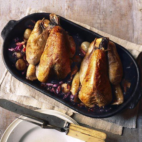 "<p>Perfect for a dinner party, this braised guinea fowl dish is surprisingly easy to prepare.</p><p><strong>Recipe: <a href=""https://www.goodhousekeeping.com/uk/food/recipes/a536086/braised-guinea-fowl-with-red-cabbage-and-juniper-shallots/"" rel=""nofollow noopener"" target=""_blank"" data-ylk=""slk:Braised guinea fowl with red cabbage and juniper shallots"" class=""link rapid-noclick-resp"">Braised guinea fowl with red cabbage and juniper shallots</a></strong></p>"