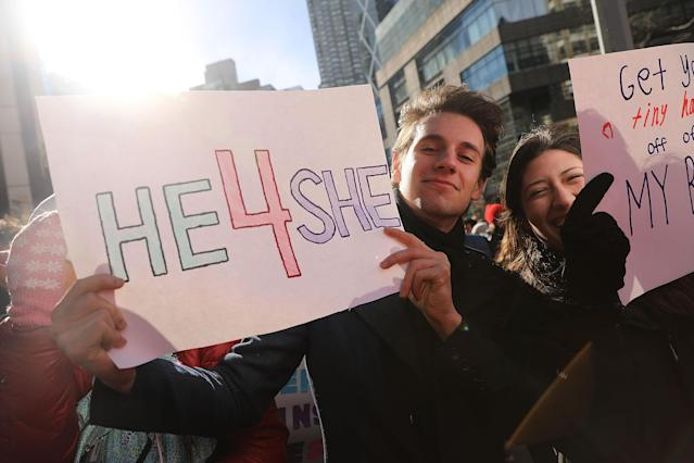 Women's March on Jan. 20, 2018, in New York City. (Photo: Getty Images)