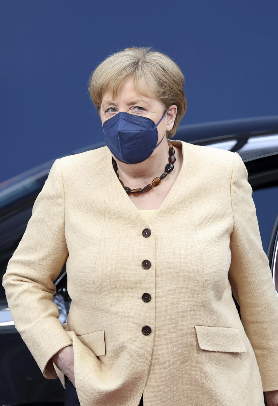 German Chancellor Angela Merkel arrives for an EU summit at the European Council building in Brussels, Friday, June 25, 2021. EU leaders are discussing the economic challenges the bloc faces due to coronavirus restrictions and will review progress on their banking union and capital markets union. (Aris Oikonomou, Pool Photo via AP)