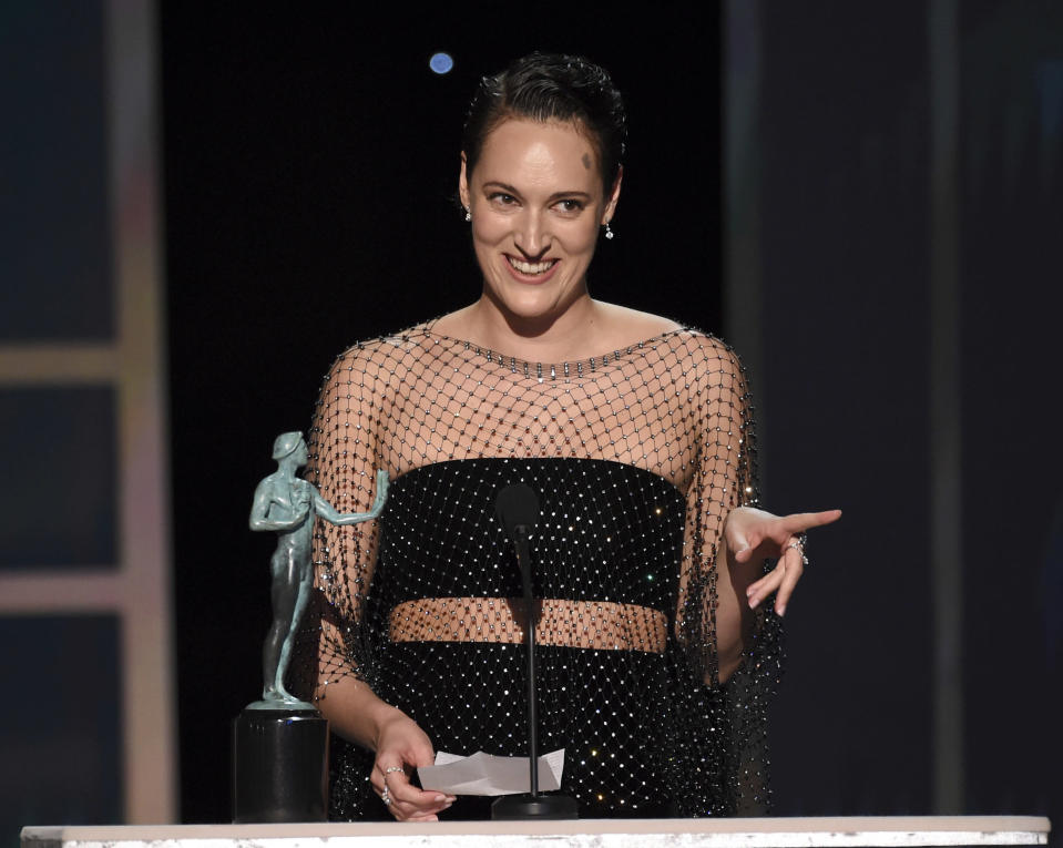 """Phoebe Waller-Bridge accepts the award for outstanding performance by a female actor in a comedy series for """"Fleabag"""" at the 26th annual Screen Actors Guild Awards at the Shrine Auditorium & Expo Hall on Sunday, Jan. 19, 2020, in Los Angeles. (Photo/Chris Pizzello)"""