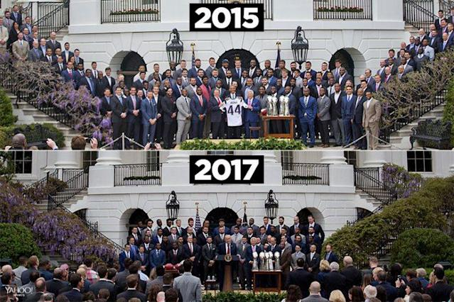 The Patriots had different-sized turnouts in 2015 and 2017. (AP photos)