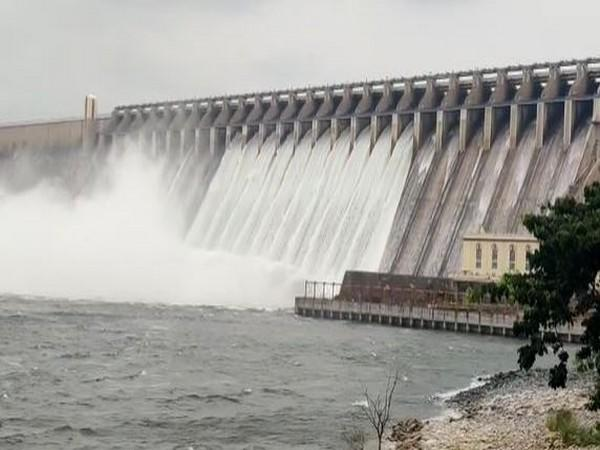 10 gates of Nagarjuna Sagar dam opened in Nalgonda District on Saturday. (Photo/ANI)