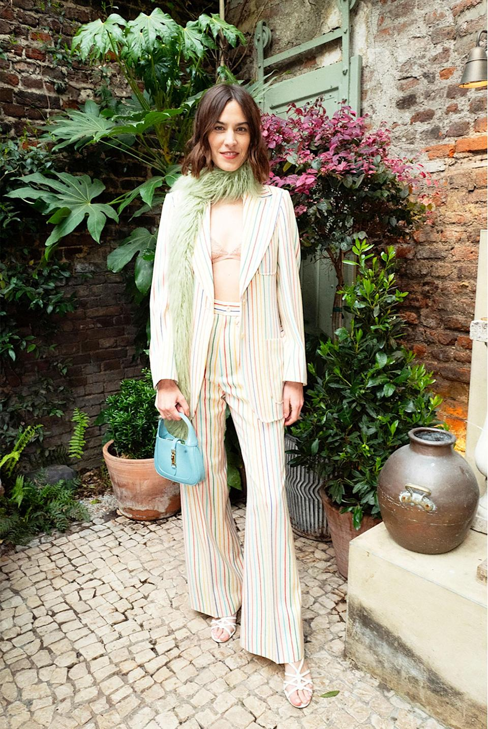 <p>WHO: Alexa Chung</p> <p>WHAT: Gucci </p> <p>WHERE:Gucci Boulevard Lines Private Dinner</p> <p>WHEN: May 20</p>