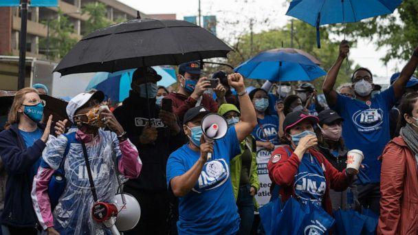 PHOTO: Nurses at the University of Illinois Hospital (UIH) rally on the first day of their strike in Chicago on Sept. 12, 2020. (Max Herman/NurPhoto via ZUMA Press)