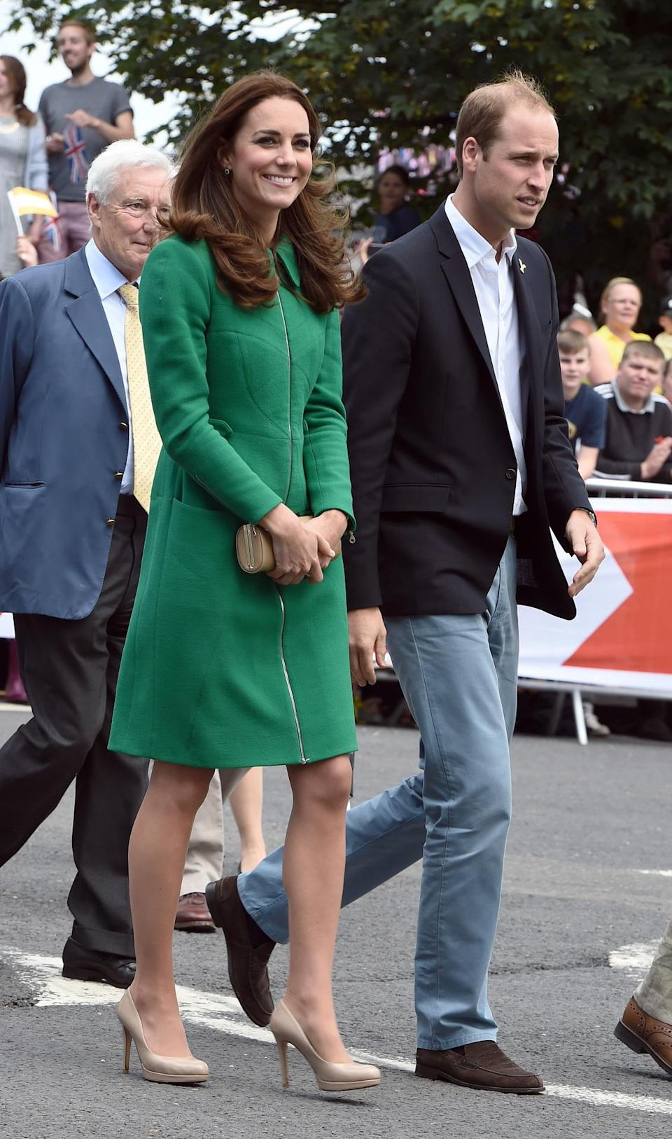 <p>Kate donned Erdem for the Tour de France launch. In a green coat and matching silk tea dress, Kate accessorised with a nude clutch and shoes - both by the Duchess's favourite, L.K. Bennett. </p><p><i>[Photo: PA]</i></p>