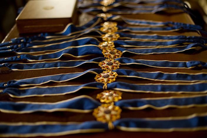 <p>Presidential Medals of Freedom are seen on a table prior to the start of the ceremony in the East Room of the White House Washington, Tuesday, Nov. 22, 2016, where President Obama is recognizing 21 Americans with the nation's highest civilian award, including giants of the entertainment industry, sports legends, activists and innovators. (AP/Pablo Martinez Monsivais) </p>