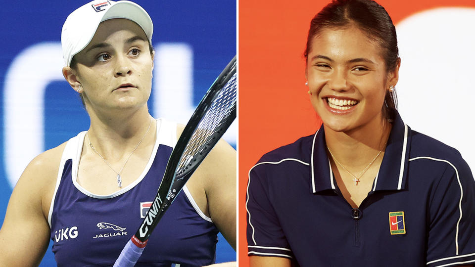 Emma Raducanu and Ash Barty, pictured here on the tennis court.