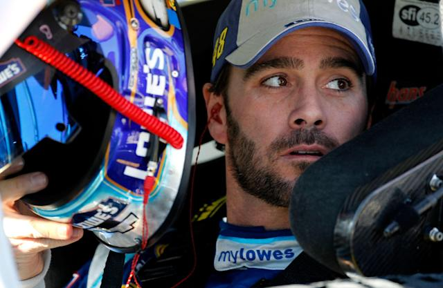 FORT WORTH, TX - NOVEMBER 04: Jimmie Johnson, driver of the #48 MyLowe's Chevrolet, sits in his car during qualifying for the NASCAR Sprint Cup Series AAA Texas 500 at Texas Motor Speedway on November 4, 2011 in Fort Worth, Texas. (Photo by Jonathan Ferrey/Getty Images)