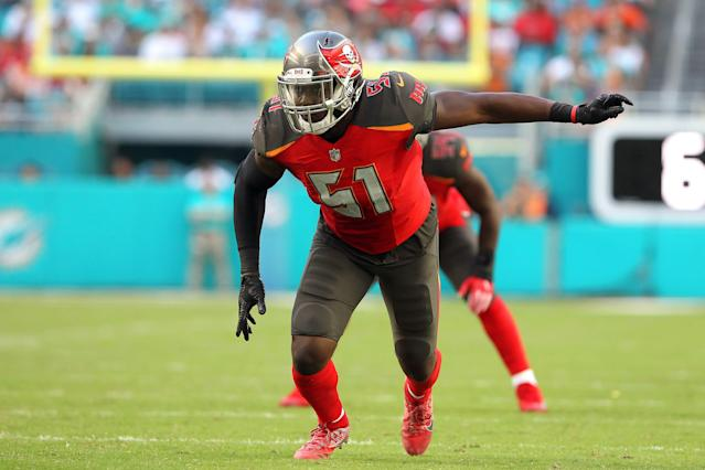Buccaneers linebacker Kendell Beckwith (51) could miss a second straight season. (AP)