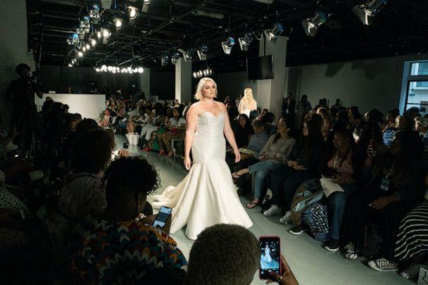 PHOTO: A model walks down the runway at The Knot x Kleinfeld Fashion Show. (Jessica Kane for The Knot )