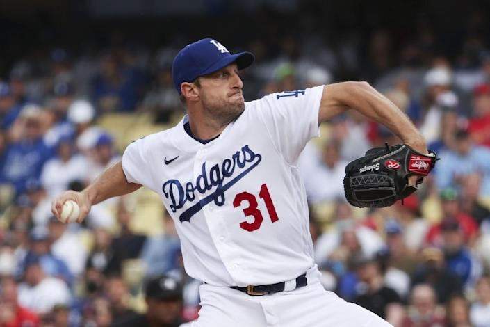 Los Angeles Dodgers starting pitcher Max Scherzer delivers a pitch during the first inning against the St. Louis Cardinals