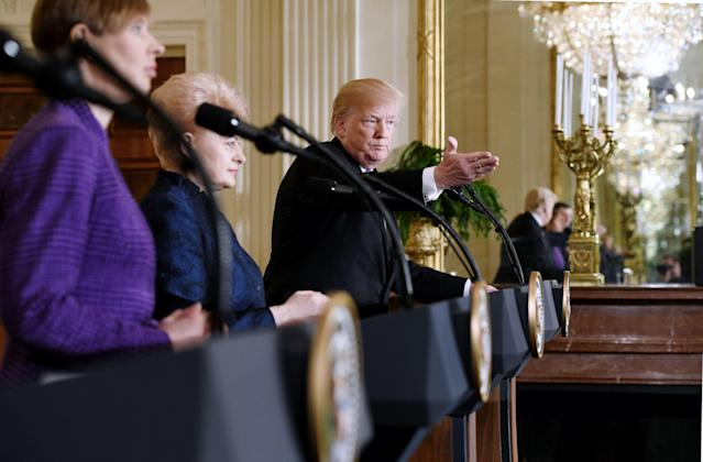 President Donald Trump speaks during a joint press conference with President Raimonds Vejonis of Latvia, President Kersti Kaljulaid of Estonia and President Dalia Grybauskaite of Lithuania in the East Room of the White House on April 3, 2018, in Washington, D.C. (Photo: Olivier Douliery/AFP/Getty Images)