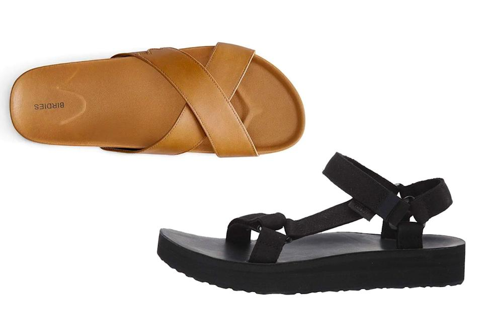 Pairs of brown leather and black sandals