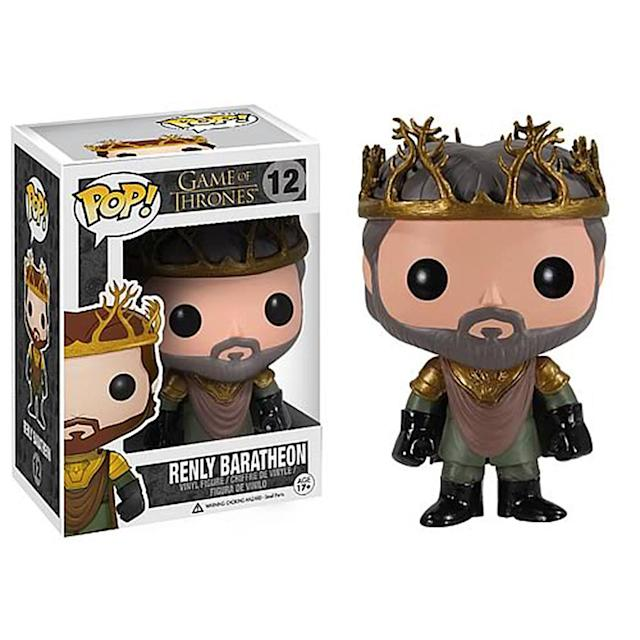 <p>In the books, his crown combines the stag antlers of the House of Baratheon with the roses of the House of Martell — though in the show, it's just antlers. </p>