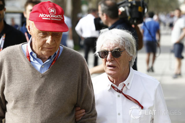 "Niki Lauda, Mercedes AMG F1 Non-Executive Chairman and Bernie Ecclestone <span class=""copyright"">Sutton Motorsport Images</span>"