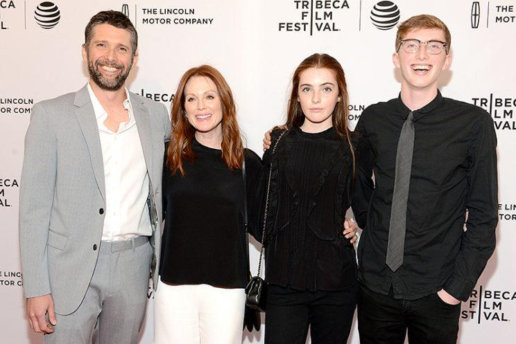 Julianne Moore and her husband, Bart Freundlich, hit the Tribeca Film Festival with their kids, Liv and Caleb, in April 2016. (Photo: Noam Galai/Getty Images for Tribeca Film Festival)