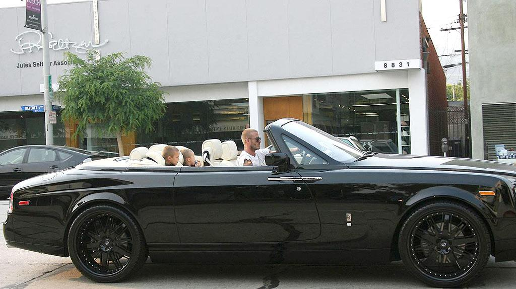 "And you thought Victoria's custom Porsche was posh? Check out what her hubby, soccer star David Beckham, recently treated himself to: a $407,000 Rolls-Royce Phantom Drophead Coupe. Johnstone/Symons/<a href=""http://www.pacificcoastnews.com/"" target=""new"">PacificCoastNews.com</a> - June 25, 2008"