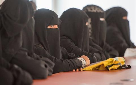 Women in face-covering niqabs - Credit: David Rose for the Telegraph