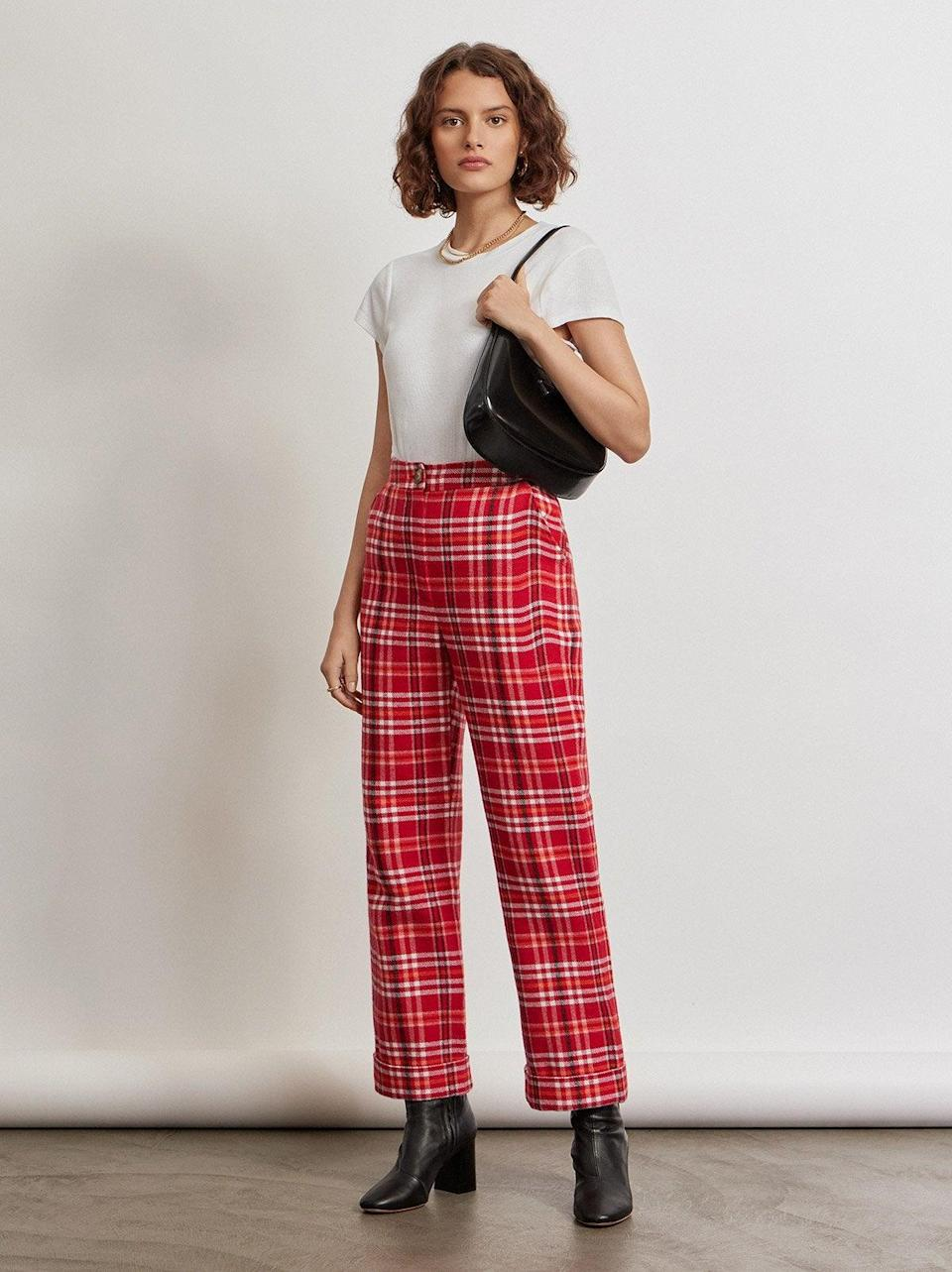"""<br><br><strong>Kitri x Jessie Bush</strong> Marissa Check Trousers, $, available at <a href=""""https://kitristudio.com/products/marissa-check-trousers?variant=39519990054963"""" rel=""""nofollow noopener"""" target=""""_blank"""" data-ylk=""""slk:Kitri"""" class=""""link rapid-noclick-resp"""">Kitri</a>"""