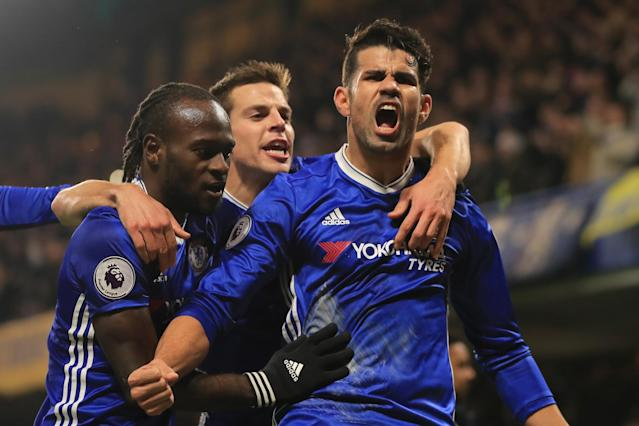 <p>Costa celebrates after opening the scoring for Chelsea </p>