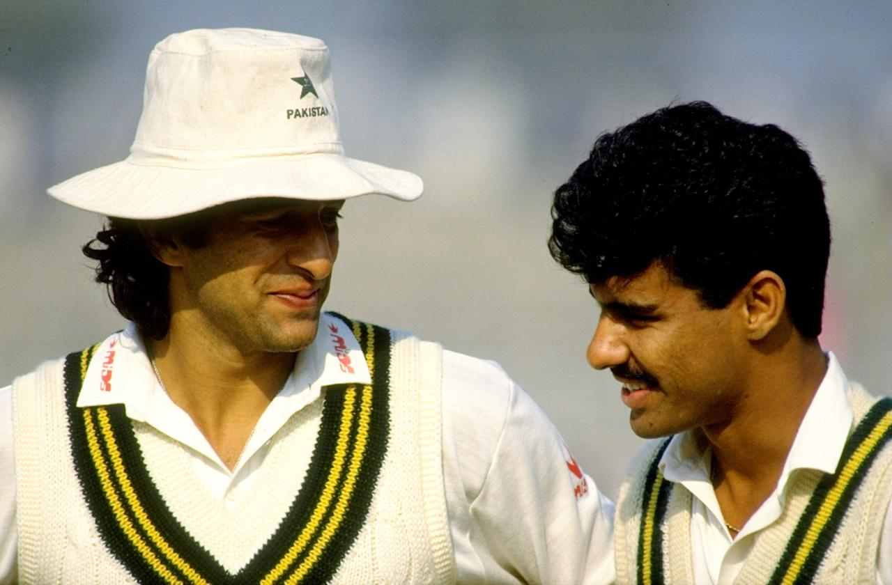 6-11 Dec 1990:  Portrait of Pakistan fast bowlers Wasim Akram (left) and Waqar Younis during the Third Test match against the West Indies at Gaddafi Stadium in Lahore, Pakistan. The match ended in a draw. \ Mandatory Credit: Pascal  Rondeau/Allsport