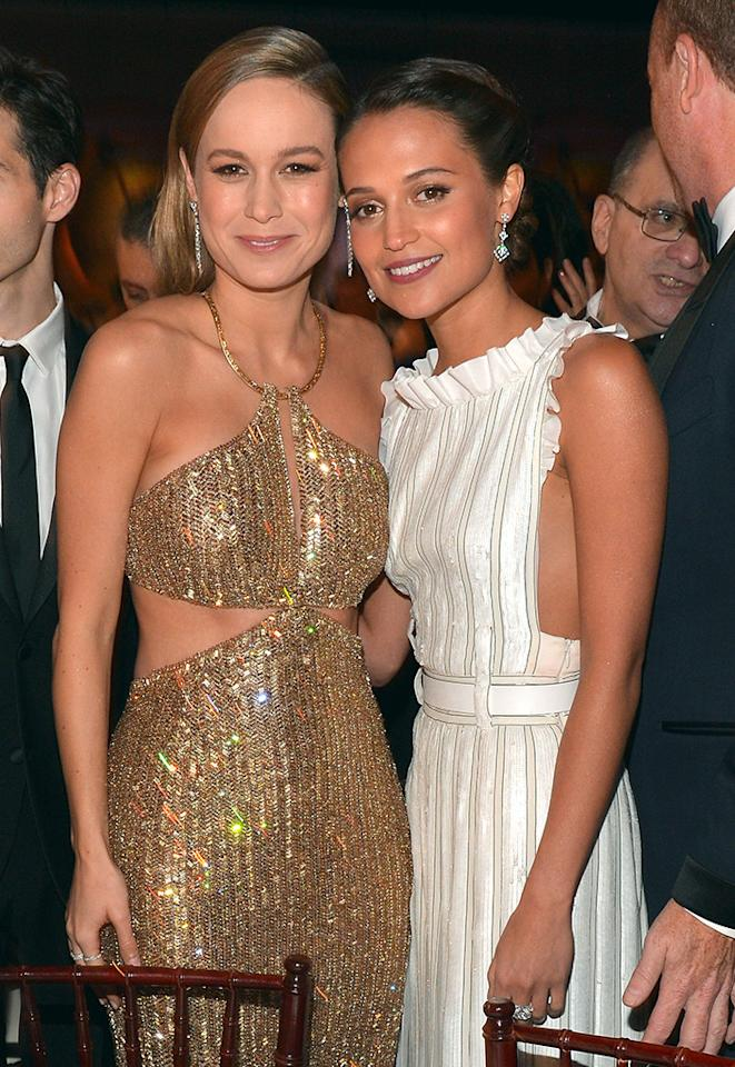 <p>Looking good! Vikander posed with fellow 'It' actress and Academy Award nominee Brie Larson at the televised event on Jan. 10 event in Beverly Hills.</p><p><i>(Photo: Charley Gallay/Getty Images)</i></p>