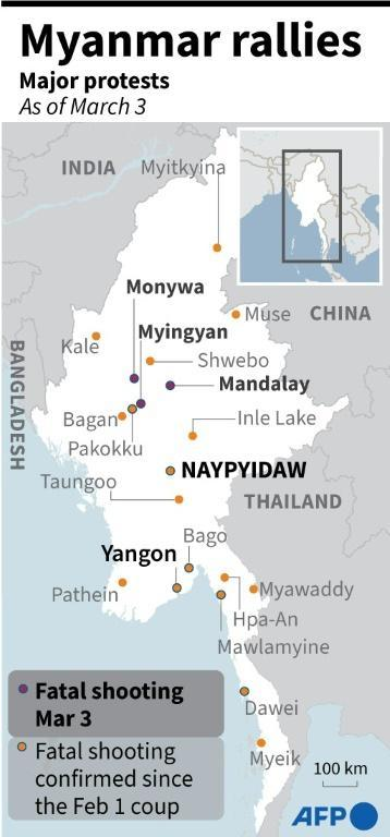 Map of Myanmar showing the cities where the main anti-coup protests have taken place since the junta takeover of February 1, 2021