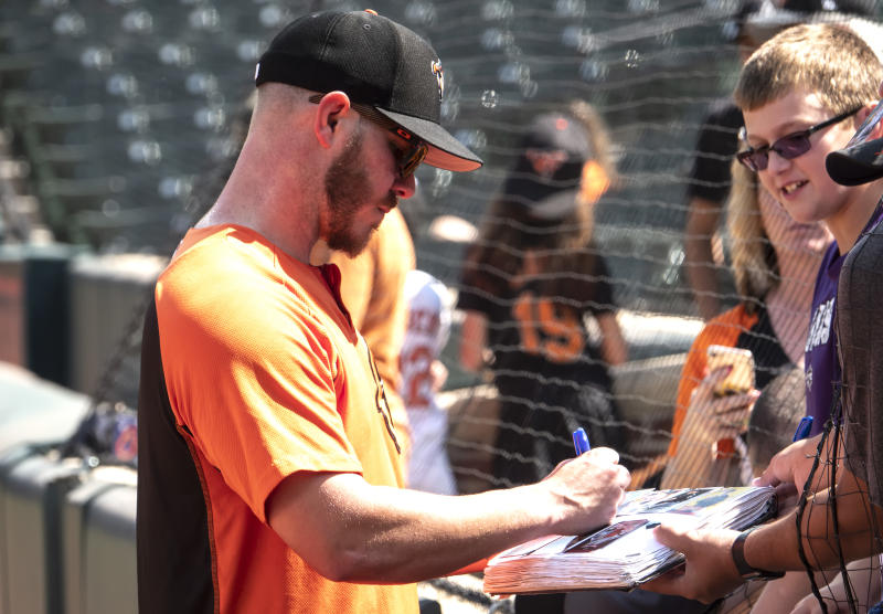 BALTIMORE, MD - SEPTEMBER 08: Baltimore Orioles starting pitcher Dylan Bundy (37) signs before a MLB game between the Baltimore Orioles and the Texas Rangers on September 08, 2019, at Oriole Park at Camden Yards, in Baltimore, Maryland. (Photo by Tony Quinn/Icon Sportswire via Getty Images)