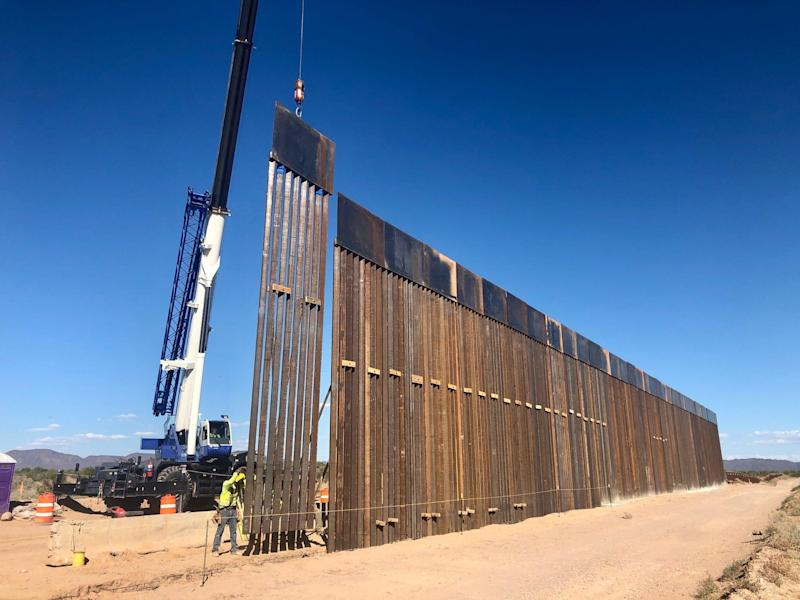 A border wall is being constructed in Organ Pipe Cactus National Monument at the Arizona-Mexico line.