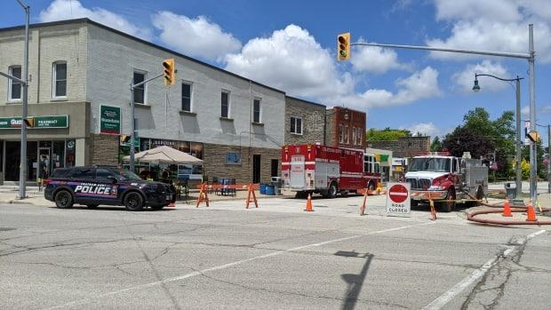 Crews at the scene of a gas leak in Wheatley in southwestern Ontario in June. On Monday, it was determine there was another leak. (Sanjay Maru/CBC - image credit)