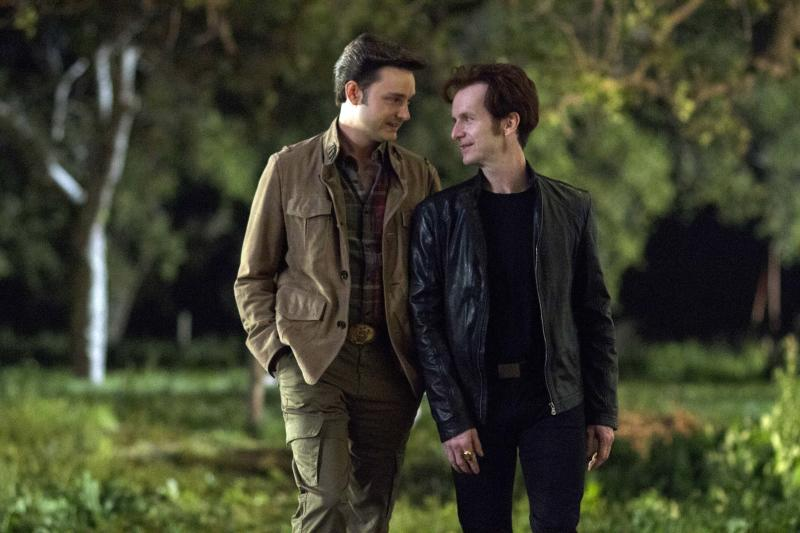 """This image released by HBO shows Michael McMillian, left, and Denis O'Hare in a scene from """"True Blood."""" The 17th annual """"Where We Are on TV"""" report released Friday by the Gay & Lesbian Alliance Against Defamation (GLAAD) found that 4.4 percent of actors appearing regularly on prime-time network drama and comedy series during the 2012-13 season will portray lesbian, gay, bisexual or transgender (LGBT) characters. This is up from 2.9 percent in 2011, which saw a dip in what had been a growing trend. The HBO drama """"True Blood"""" remains the most inclusive series on cable television, featuring six LGBT characters. (AP Photo/HBO, John P. Johnson)"""