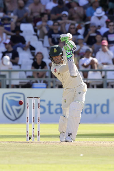 South African Captain Faf du Plessis in action on day two of the second cricket test match between South Africa and Pakistan at Newlands Cricket Ground in Cape Town, South Africa, Friday, Jan. 4, 2019. (AP Photo/Halden Krog)