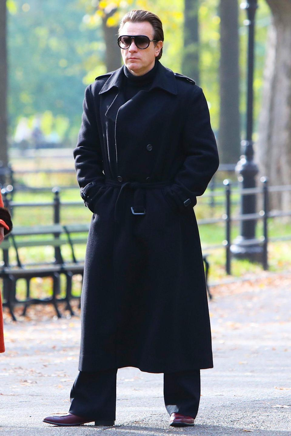 <p>Ewan McGregor goes incognito in all black while on the set of <em>Simply Halston </em>in N.Y.C. on Thursday.</p>