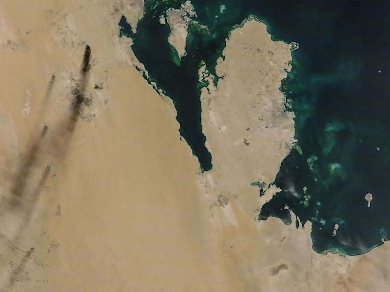 A satellite image provided by NASA Worldview shows fires following drone strikes on two major oil installations owned by the state giant Aramco, in eastern Saudi Arabia: AFP/Getty Images