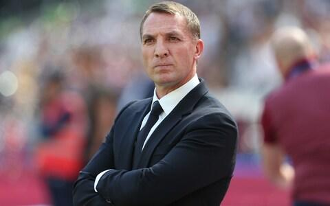 Leicester manager Brendan Rogers during the Premier League match between West Ham United and Leicester City at London Stadium - Credit: Getty images
