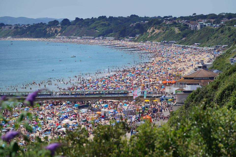 Bournemouth beach in Dorset was packed (Ben Birchall/PA) (PA Wire)