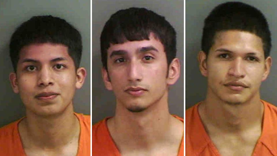 From left to right is Jose Luis Ramirez-Sanchez, Oscar Manuel Llera Iturralde and Arlington Joel Aguilar Hernandez  the three men charged by the Collier County Sheriff's Office over an illegal street race.