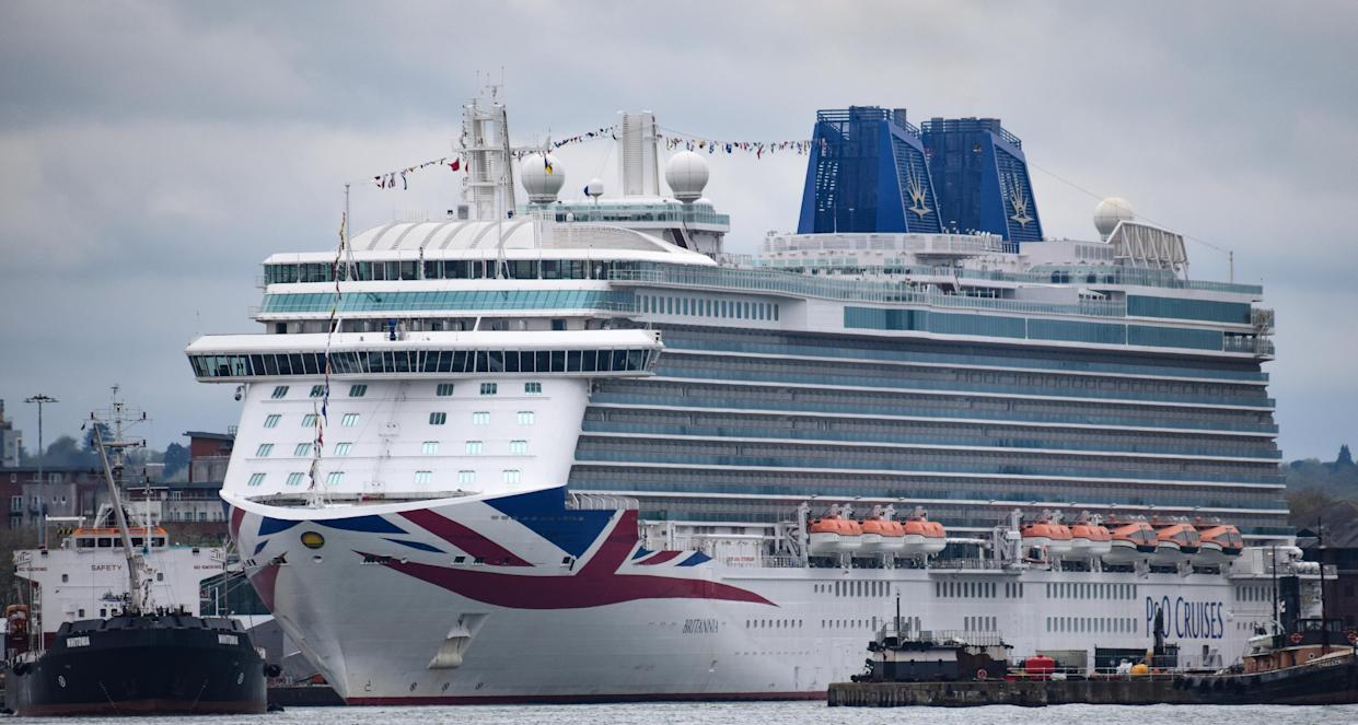 The P&O Luxury cruise liner Brittannia in dock in Southampton