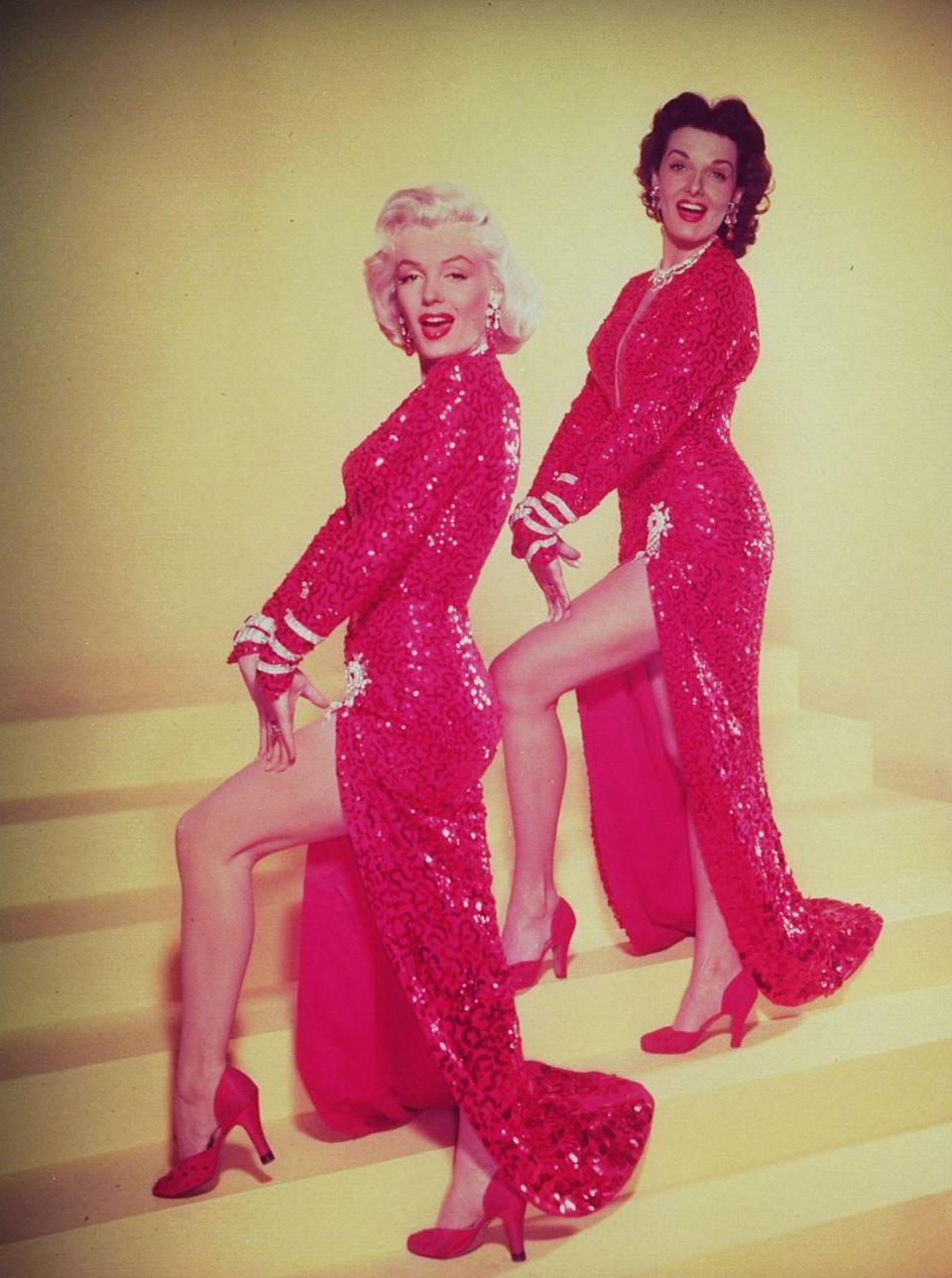 <p>Jane Russell and Marilyn Monroe wore a monochromatic look in <em>Gentlemen Prefer Blondes, </em>right down to their stunning red satin pumps.</p>