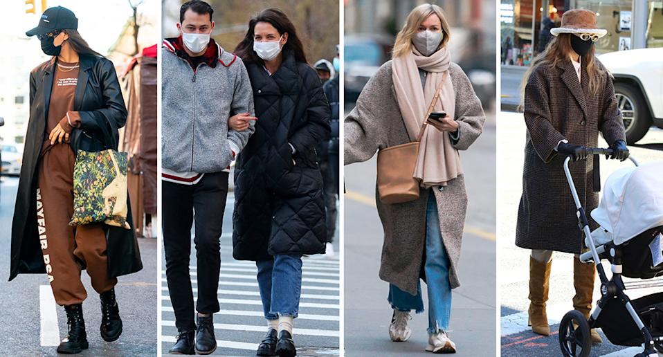 Irina Shayk, Katie Holmes, Naomi Watts and Gigi Hadid are among some of the celebs who have turned to Mango for their winter coats this season. (Getty Images)
