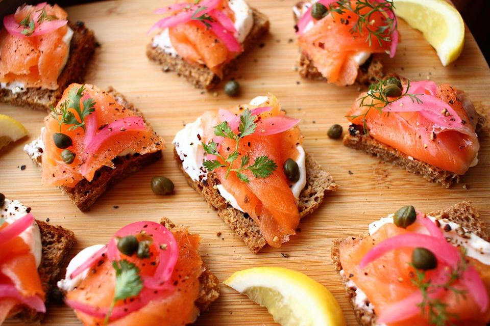 """<p>Making lox at home is way easier than you think.</p><p>Get the recipe from <a href=""""https://www.delish.com/cooking/recipe-ideas/a33446892/lox-recipe/"""" rel=""""nofollow noopener"""" target=""""_blank"""" data-ylk=""""slk:Delish"""" class=""""link rapid-noclick-resp"""">Delish</a>.</p>"""