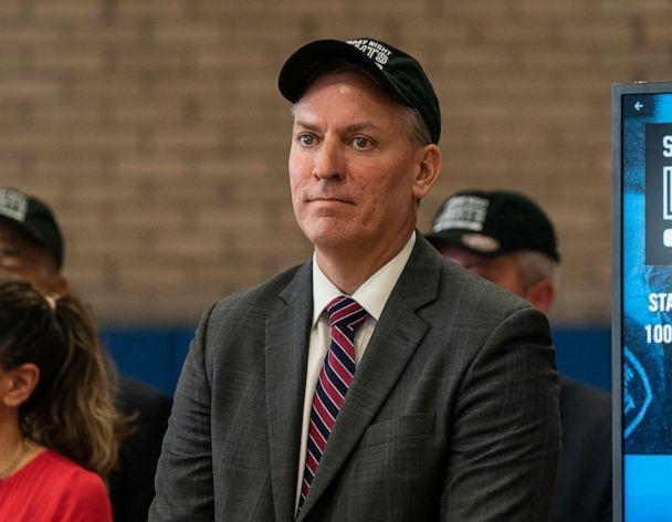 PHOTO: NYPD Commissioner Dermot Shea attends media briefing on the Saturday Night Lights program, at Boys Club of New York on July 9, 2021 in New York City.  (Pacific Press/LightRocket via Getty Images)